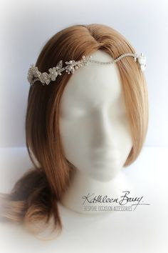 R1300 Nicola crystal lace head piece by KathleenBarryJewelry bridal hair accessories wedding garland lace pearl and crystal