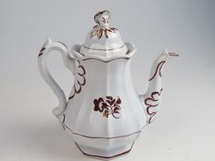 LUSTERWARE COFFEE POT with Ornate Finial
