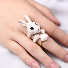 Animal Pet Group Set Puppy Chic Rabbit Three-piece Gifts Accessory Fancy Dog Ring Women Girl Knuckle for Any Occassion Trendy Accessories, Fancy, Puppies, Pets, Rings, Bamboo, Rabbit, Basket, Group
