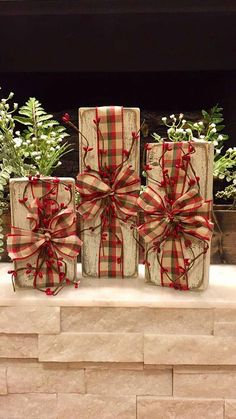 Rustic Christmas Decor Set of 3