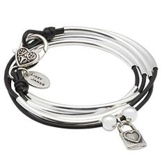 Mini Friendship leather wrap bracelet with Heart Lock charm in Natural Black leather, comes as shown