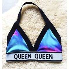 Queen Halter Tie Dye Triangle Fashion Bra or Bralette ($35) ❤ liked on Polyvore featuring crop tops, grey, tops and women's clothing