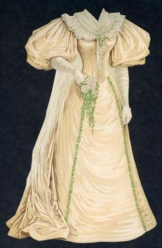 #21 Wedding Gown, August 25, 1895, Boston Sunday Herald Paper Doll Dress