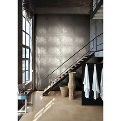 Seabrook Wallpaper JP31700 - Journeys - Metal tile design wallcovering in a stairway photo