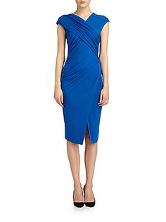 Crossover Draped Stretch Jersey Dress