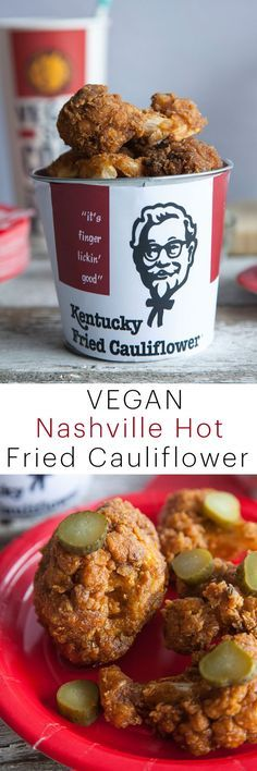 KFC Nashville Hot Chicken - Vegan Recipe: This vegan take on the famous KFC Nashville Hot Chicken uses cauliflower to give you that juicy, crispy, fried chicken taste you're used to. This fried cauliflower recipe is the best cauliflower you'll ever have!!