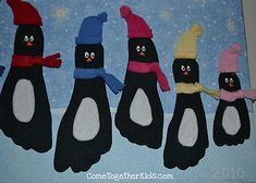 Footprint penguins!  I'd probably do the whole thing with construction paper.