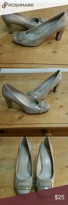 Franco Starto Beige Patent Pumps Never Worn Beige Patent Pumps 3:Inch Heel All Man Made Materiaks Franco Sarto Shoes Heels