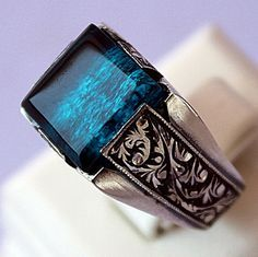 Sterling Silver 925 men ring ethnic design with by SILVERforMEN
