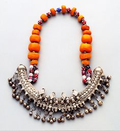 Bridal necklace from Somalia. Silver, amber, glass beads circa late 19th century.