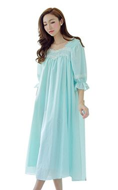 Womens Summer Cotton Short Sleeves Mid-calf Princess Victorian Nightgown  Blue) at Amazon Women s Clothing store  a083794d2