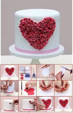 How to make a large ruffled heart for cakes. Cake Decorating Supplies, Cake Decorating Techniques, Cake Decorating Tutorials, Gorgeous Cakes, Pretty Cakes, Fondant Cakes, Cupcake Cakes, Valentines Day Cakes, Just Cakes