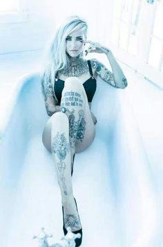 Sara Fabel is a Finnish model, illustrator, and now tattoo artist. After becoming an online hit for her modeling and building up a large social network, she took the plunge from illustrator to tatt… Tattoo Girls, Girl Tattoos, Hot Tattoos, Body Art Tattoos, Tattoo Ink, Shin Tattoo, Crazy Tattoos, Female Tattoos, Sara Fabel