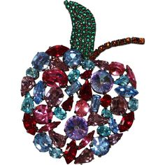 Cristobal London Large Apple Rivoli Rhinestone Crystals Brooch, Gunmetal