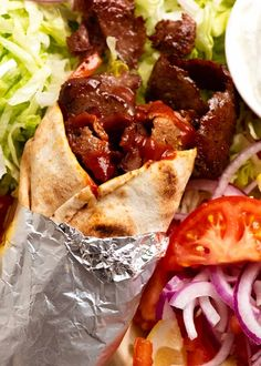 Beef Doner Kebab ready to be eaten Shawarma, Greek Recipes, Indian Food Recipes, Ethnic Recipes, Serious Eats, Beef Dishes, Food Dishes, Main Dishes, Kebab Meat