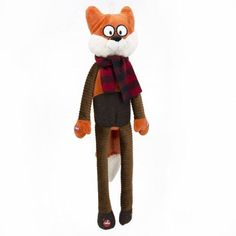 30-inch Holiday Long Body Fox Dog Toy