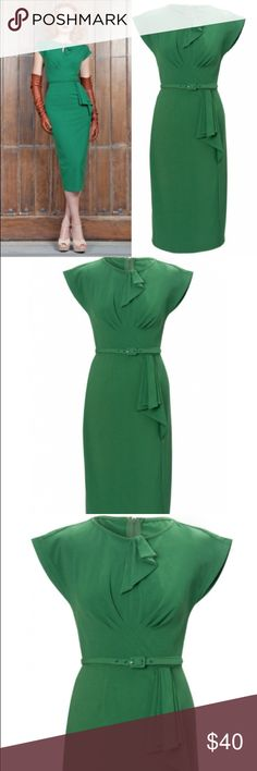 Vintage-Inspired Green Dress Super chic and sexy, vintage-inspired knee length dress. Has a pencil skirt type slimming silhouette. Beautiful spring green color. Like new, Worn only once. Material is polyester and durable plus gives you an amazing shape and fit. Dresses
