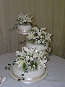 wedding cake 3 separate tiers something to go with the metal ring toppers 3 tiered 21696