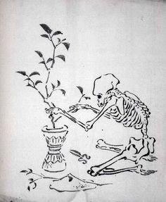 「花を活ける骸骨」河鍋暁斎 Kawanabe Kyōsai Japanese Drawings, Japanese Artwork, Japanese Painting, Japanese Prints, Skeleton Art, Art Japonais, Art Graphique, Japan Art, Woodblock Print