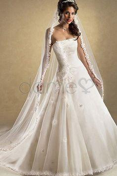 Keine Taille Organza Kirchen Prinzessin trägerloses bodenlanges Brautkleid mit Korsett