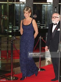Diana, Princess Of Wales Attending The Premiere Of The Film 'in Love And War' At The Empire In Leicester Square In Aid Of The British Red Cross Anti-personnel Mines Campaign. With Her Is Actor Richard Attenborough, The Film's Director.