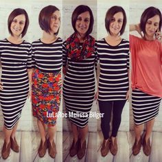 There are so many great ways to wear the Lularoe Julia dress, here is just a few examples! (Pictured with a cassie skirt, leggings, Irma. Lula Outfits, Cool Outfits, Dress Outfits, Dresses, Modest Fashion, Fashion Outfits, Womens Fashion, Travel Outfits, Lularoe Julia Dress