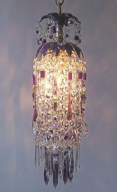 Mardi Gras Crystal Waterfall Pendant Chandelier