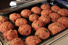People need to know about these, I found this recipe a few years ago and they are some of the most amazing things I've ever eaten... pictures of raw meatballs aren't the most appetizing, but just trust me.  Stuff them with whatever my fav is motzerella.