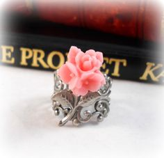 Soft Pink Flower Ring Romantic Jewelry Romantic by foreverandrea, $9.75