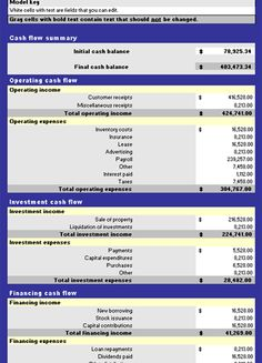 Cash Flow Statement Template For Excel  Document Business