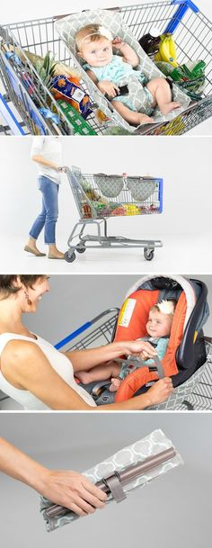 Binxy Baby Shopping Cart Hammock! If you can't wear the baby, this is so much safer than perching a bucket seat on the cart seat and more practical than putting it in the basket.