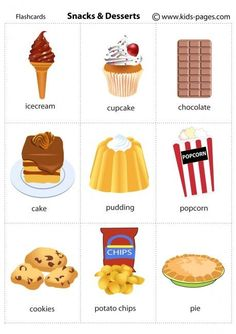Snacks And Desserts flashcard Kids English, English Tips, English Study, English Class, English Words, English Lessons, English Grammar, Learn English, Education English