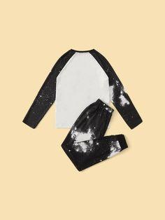 Boys Slogan Graphic Galaxy Sleeve Top & Pants PJ Set – Agodeal Boys Sleepwear, Loungewear, Satin Pj Set, Cartoon Letters, Pj Sets, Printed Tank Tops, Slogan, Pajama Set