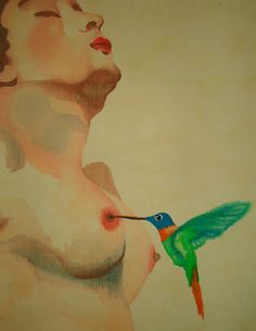 The bird and the lover (acrylic on wall paper)