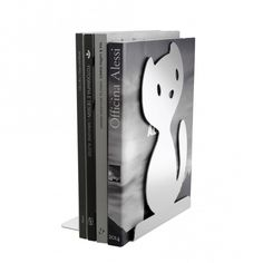 Alessi Cat Bookend / Vigo Book Stand - Stainless Steel