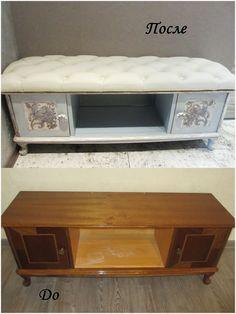 Уютная банкетка из старой полки для обуви