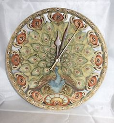 NOUVEAU by INNOVATION ART DECO STYLE PEACOCK WALL CLOCK