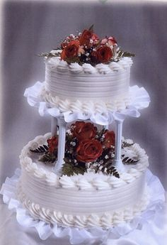 snow white wedding cake with bright red flowers and green leaves in two tiers Small Wedding Cakes, White Wedding Cakes, Wedding Cakes With Flowers, Elegant Wedding Cakes, Beautiful Wedding Cakes, Wedding Cake Designs, Wedding Cake Toppers, Beautiful Cakes, Red Wedding
