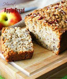 Harvest Apple Bread - The favored fruit of Fall is here in true fashion. And, not a minute too soon in my opinion. When apples arrive I& reminded of my love for them and apple desserts like this harvest apple bread. Harvest Bread, Apple Harvest, Autumn Harvest, Apple Desserts, Apple Recipes, Bread Recipes, Apple Bread Recipe Healthy, Fall Recipes, Yummy Recipes