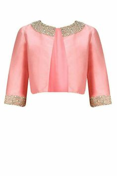 Dusty pink pearl and rhinestone embroidered bolero jacket available only at Pernia's Pop-Up Shop. This dusty pink taffeta bolero is detailed with pearl & rhinestone hand embroidery on the neck and cuff. Blouse Patterns, Blouse Designs, Indian Dresses, Indian Outfits, Saree Jackets, Jackets For Women, Clothes For Women, Indian Attire, Fashion Outfits