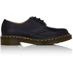 Comme des Garcons Comme des Garcons Doc Martens Women's MIE 1461 Oxfor ($395) ❤ liked on Polyvore featuring shoes, black, oxford shoes, black low heel shoes, black leather shoes, black lace up shoes and kohl shoes