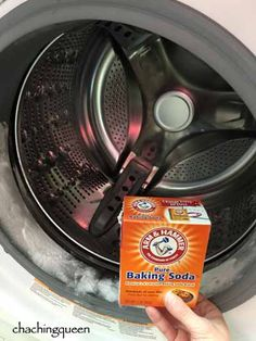 Using baking soda and vinegar to clean your washing machine.