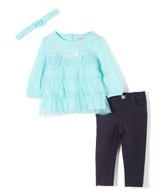 Another great find on #zulily! Turquoise Tiered Mesh Top Set - Infant #zulilyfinds