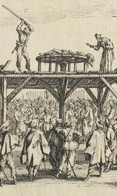A priest blesses the bludgeoning to death of a human in The Breaking Wheel, from the Great Miseries of War by Jacques Callot, 1633