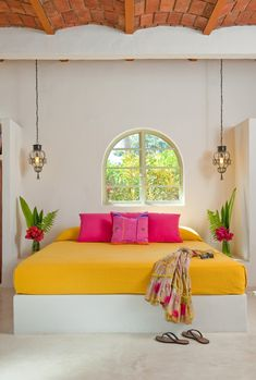 Brightly-colored fabrics and furnishings