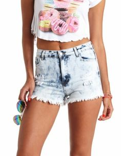 Acid Wash High-Waisted Cut-Off Denim Shorts: Charlotte Russe