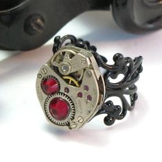 Blood Red Noir Vintage Ring by Mystic Pieces #steampunk #jewelry #mysticpieces #etsy