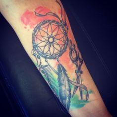 Dreamcatcher tattoo hairstylist scissorandcomb tattoo watercolour tattoo