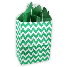 Kelly Green and White Chevron Pattern Kraft Gift Bag (Set of 8) >>> You can find out more details at the link of the image.
