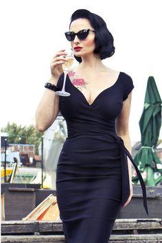The Pretty Dress Company - Black Hourglass Vintage Pencil dress